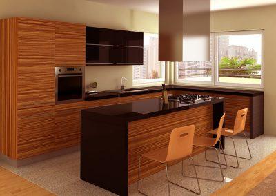 dunkle Wohnküche aus Holz